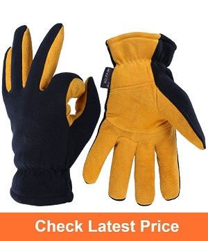 OZERO Deerskin Suede Leather Palm Ice Fishing Gloves